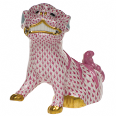 Herend Porcelain Fishnet Figurine of a Foo Dog
